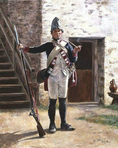 Fusilier, Hesse Cassel Regiment Erb Prinz a limited edition print by Don Troiani depicting A splendid Hessian Fusilier pausing for a brief smoke at the beginning of the revolution. Military Units, Military Art, Military History, American Revolutionary War, American Civil War, American History, Independence War, American Independence, Army Uniform
