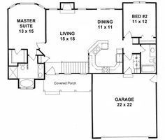 1179 sq ft Ranch style small house plan 2-bedroom split. If you don't have a basement, put a small office space where the stairs are. Looks like it would be about 12x7 ish.