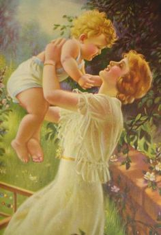 mother and child spring blond outdoors Lithograph print fine Art antique Print Calendar, Vintage Images, Vintage Art, Antique Art, Vintage Beauty, Vintage Prints, Mothers Love, Happy Mothers, Mother And Child