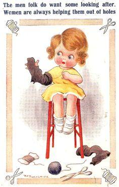 Between the wars (1923 postcard) but even a little girl can mend better than the menfolk, apparently.