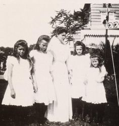 Grand Duchess Maria, Grand Duchess Olga, Tsarina Alexandra, Grand Duchess Tatiana, and Grand Duchess Anastasia Romanov. What a burden it must have been for the girls to have a mother who was so unhappy.