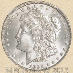 1892 Morgan Dollar MS65 NGC, obverse