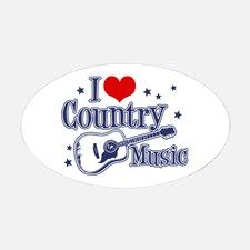 I Love Country Music Oval Decal for