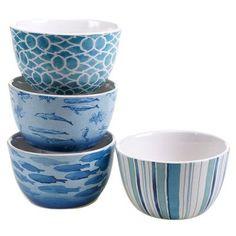 Certified International Sea Life 4 Piece Ice Cream Bowl Set