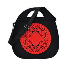Felt Bag - JOJO Folk -black and red von Beltrani auf DaWanda.com