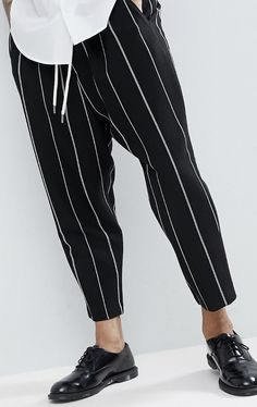 On my wish list : ASOS Drop Crotch Tapered Smart Trousers In Black Waffle With White Stripes from ASOS #ad #men #fashion #shopping #outfit #inspiration #style #streetstyle #fall #winter #spring #summer #clothes #accessories #menoutfits