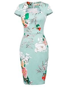 127d8021 Women Elegant Sexy Floral Flower Print Party Dresses Club Cocktail Fitted  Bodycon Office Work Clothing Plus Size Pencil Dress