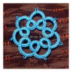 Chiacchierino ad ago, cotone perlè 5 turchese, perline turchesi, diametro 5mm