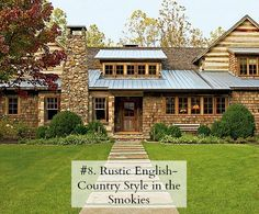 """English Country Style, """"Toad Hall,"""" on 32 acres in the Smoky Mountains, TN.  Architect Jack Davis.  Interior design Susanne Kasler."""