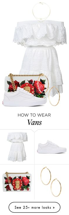 """""""Untitled #3736"""" by sonjamilica on Polyvore featuring LoveShackFancy, Dolce&Gabbana, Vans and GUESS by Marciano"""
