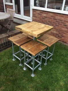 Reclaimed Industrial Scaffold Board Plank Breakfast Bar Bistro Restaurant Table and 4 Stools