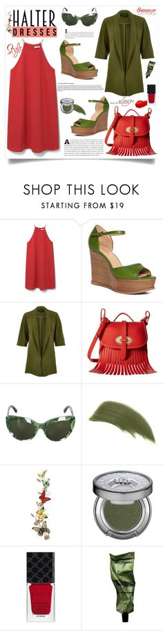 """""""Shoulder Show: Halter Dresses"""" by southindianmakeup1990 ❤ liked on Polyvore featuring MANGO, Brooks Brothers, River Island, Dooney & Bourke, Dolce&Gabbana, By Terry, Urban Decay, Benzara, Gucci and Aesop"""