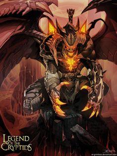 "Artwork ""Abyssal Warden Advanced"" by Grmilock Fantasy Demon, Fantasy Art, Dark Fantasy, Fantasy Creatures, Mythical Creatures, Vampires, Aliens, Card Game, Alien Concept Art"
