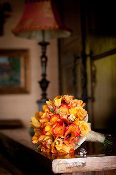Orange roses and lilies | Photo by Goddard Studios #orange #bouquet #wedding