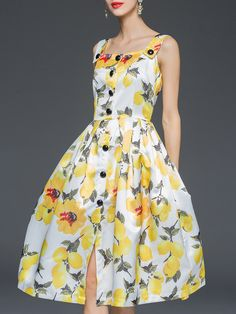 Yellow+Spaghetti+Strap+Sleeveless+Print+Dress+56.99