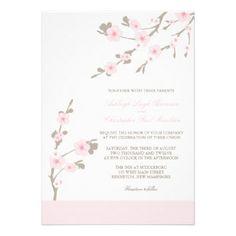 Rose et Brown d'invitations de mariage de fleurs d