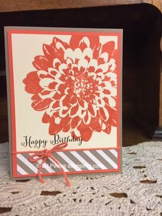Definitely Dahlias is the name of this fabulous new stamp set from Stampin' Up! See another sample here; http://www.stampinbj.com/2015/06/definately-dahlias.html