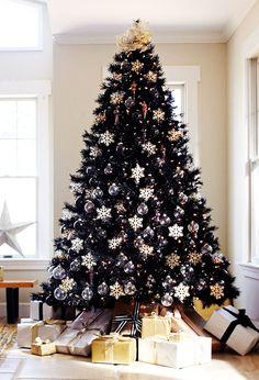 Black Christmas Tree Decorations, 2014 Black Christmas Tree White Snowflake Decorations