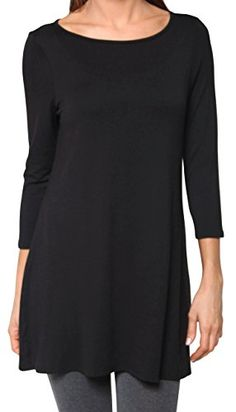 390584a545d Free to Live Women's Flowy Elbow Sleeve Jersey Tunic Blouse Top Made in USA  (Medium, Black): Free to Live Women's Flowy Elbow Sleeve Jersey Tunic  Blouse Top ...