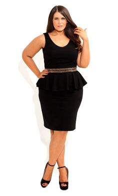 Pull off a sassy and edgy look with our Stud Peplum Dress. Highlighted by a mix of studs and beads along its fitted waist, this sleeveless dress features a V-neckline, dart detail on bust, a chunky centre back zip, a lined bodice and a flirty peplum Curvy Fashion, Plus Size Fashion, Girl Fashion, Fashion Outfits, Womens Fashion, Petite Fashion, Style Fashion, Fashion Design, Plus Size Dresses