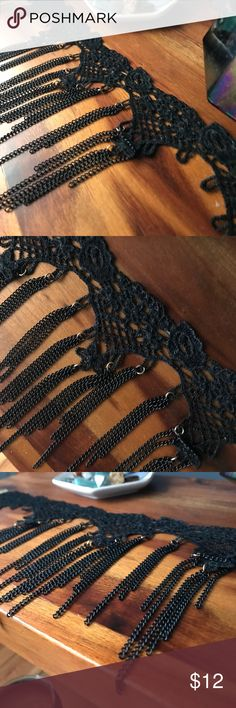 Black crochet choker with chains Black crochet choker with chains. Jewelry Necklaces
