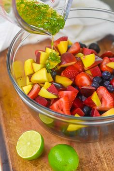 Combine luscious stone fruits and fresh, juicy berries in a light dressing to make this summer fruit salad with in season fruit for your next cookout or brunch. Learn how to make fruit salad and fruit salad dressing with this summer fruit recipe by Dash of Jazz #dashofjazzblog #summerfruitsalad #summerfruitdesserts Fruit Recipes, Summer Recipes, New Recipes, Drink Recipes, Good Food, Yummy Food, Awesome Food, Delicious Recipes, Dressing For Fruit Salad