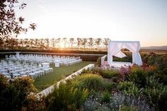 A formal landscaped Sunken Garden lies adjacent to the Function Space. Walled by clipped hedges and pleached trees the space is set against a backdrop of an amphitheatre of fynbos surrounding a ceremonial area or stage. Cape Town Wedding Venues, Luxury Wedding Venues, Forest Wedding, Farm Wedding, Dream Wedding, Wedding Decor, Wedding Ideas, Glamping Weddings, Garden Venue