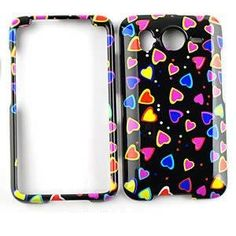 Buy HTC Inspire / Desire HD Multi-Colors Little Hearts on Black HARD PROTECTOR COVER CASE / SNAP ON PERFECT FIT CASE NEW for 9.99 USD | Reusell