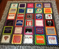 t shirt quilt: I like the border between each shirt. It helps if the logos a are tree small