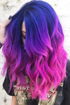 Hair Color Purple, Hair Dye Colors, Purple Ombre, Blue Colors, Ombre Colour, Pink Ombre Hair, Lilac Hair, Deep Purple, Pink Color