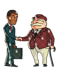 Vector illustration of a formally dressed black businessman shaking hands with an older business person.