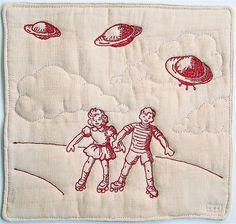 """""""Invasion"""". Redwork free-motion embroidery. Victoria Gertenbach."""