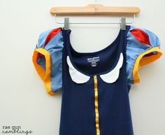 SnowWhite Shirt Tutorial turn a basic tank into a cute costume...This tyoe of thing will be great when we outgrow costumes, can sew pieces of them on regular clothes to prolong the use