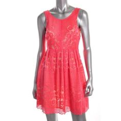 Free People New Pink Lace Knee Length Above Knee Casual Dress 2 BHFO