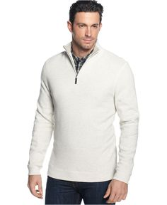 Tasso Elba Sweater, Quarter-Zip Mock Neck French Ribbed Pullover - Sweaters - Men - Macy's