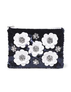 Boden Pretty Sequin Clutch - by Cris Figueired♥ Big And Beautiful, Beautiful Bags, Drawstring Bag Diy, Clutch Wallet, Pouch, Beaded Clutch, Navy And White, Women's Accessories, Totes