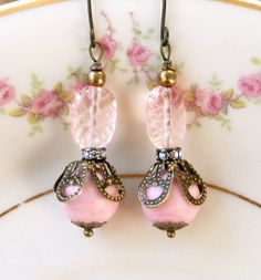 Blush. vintage pink beaded rhinestone earrings.Tiedupmemories
