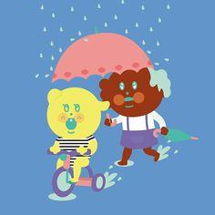 Raining day.  #illustration#drowning #일러스트레이션 #funny #uniquefamily #swimming #exercise #play #raining #rainingday #puppyp #hotchoco #dog🐶