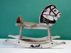 Charming 1950's Child's Rocking Horse Toy, Painted, Chippy, Rustic, White…