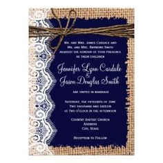 Burlap and Lace Wedding Invitations - Rustic Country Wedding Invitations
