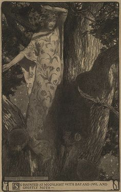 hauntedgardenbook:  So haunted at moonlight with bat and owl and ghostly moth —. Charcoal illustration by Elizabeth Shippen Green for Our Tr...