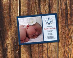 Nautical Anchor Printable Birth Announcement 5x7 (Digital File)