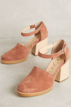 Pink Suede Shoes with Natural Wood Chunky Heel
