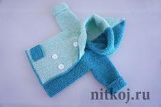Кофточка с капюшоном для новорожденного мальчика спицами