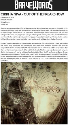 """Rating: 8 / 10 """"the Netherlands' best kept secret"""" – CD Review - Out of the Freakshow, - Bravewords (CAN) Cd Review, Metal Bands, Netherlands, Poems, Album, Movie Posters, Holland, Metal Music Bands, Poetry"""