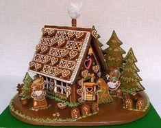 perníková chaloupka s okolím zepředu White Gingerbread House, Cool Gingerbread Houses, Gingerbread Decorations, Gingerbread Cookies, Christmas Cookies, Cake Recipe For Decorating, Cookie Decorating, Cookie House, Galletas Cookies