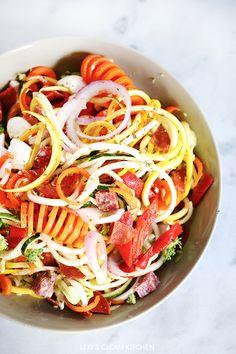 Antipasto 'PASTA' Salad - Lexi's Clean Kitchen made with the KitchenAid® Spiralizer Attachment
