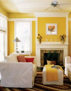 Yellow Living Room i used to have this wall color in a previous house: always happy