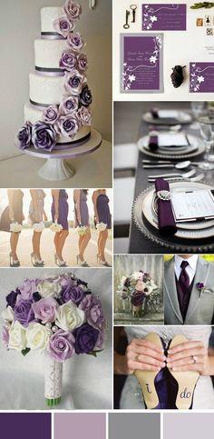 Purple Wedding Flowers elegant purple and gray wedding colors Elegant Wedding Colors, Grey Wedding Theme, Gray Wedding Colors, Wedding Color Schemes, Fall Wedding, Dream Wedding, Trendy Wedding, Lavender Grey Wedding, April Wedding