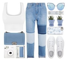 """Zurich"" by monmondefou ❤ liked on Polyvore featuring Steve J & Yoni P, adidas, Chanel, Matthew Williamson, Casetify, Clinique, Chive, Kenneth Cole, white and Blue"